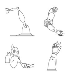 Robot and factory icon vector