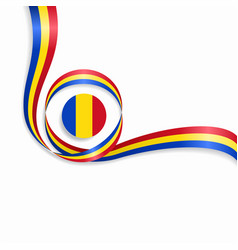 Romanian wavy flag background vector