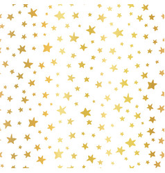 seamless background stars gold foil white vector image
