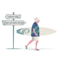 senior man with hat tropical shirt and bermuda vector image