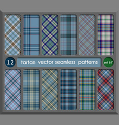 Set in blue tartan seamless pattern background vector