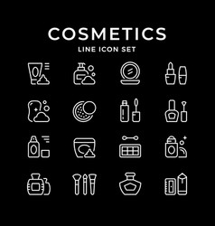 set line icons of cosmetics vector image