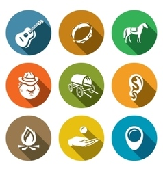 Set of Gypsy Camp Icons Guitar Tambourine vector image