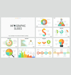 set of minimal infographic design layouts pie and vector image