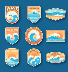 set of nine summer holidays emblems labels with vector image