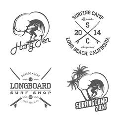set vintage surfing labels and badges vector image