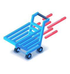 shopping cart in motion icon isometric style vector image
