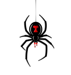 spider black widow red black bug spider 3d vector image