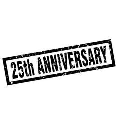Square grunge black 25th anniversary stamp vector