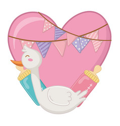 Stork with heart vector