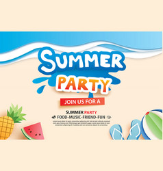Summer beach party with paper cut symbol and icon vector