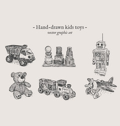 Toys hand-drawing set vector
