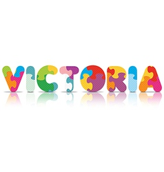VICTORIA written with alphabet puzzle vector