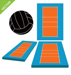 Volleyball and court vector image