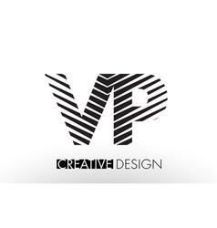 vp v p lines letter design with creative elegant vector image