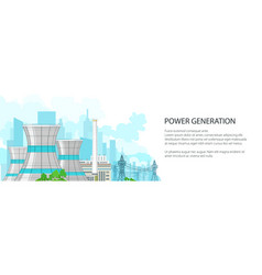 white banner with power plant vector image
