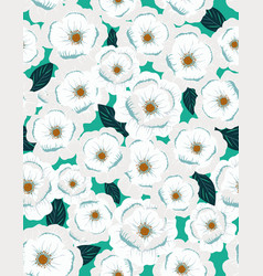 white flowers print with green leaves vector image