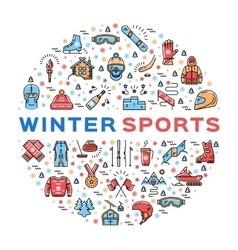 Winter sports colorful thin line icons set vector