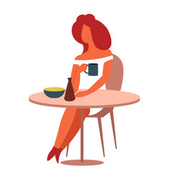 woman at table having lunch with coffee or tea vector image