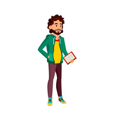 Young man checking order with checklist paper vector