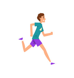 Young man running active healthy lifestyle vector