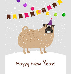 happy new year dog card vector image vector image
