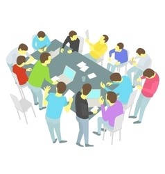 Round-table talks Thirteen persons set Group of vector image