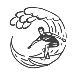 Vintage logo men surfing on wave surfboard surf vector