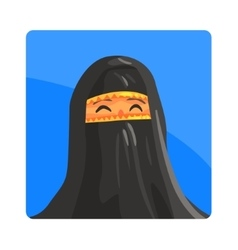 Woman in niquab famous touristic attraction of vector