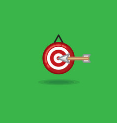 Arrow flying in target on a vector
