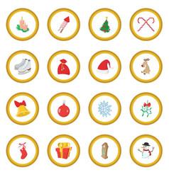 christmas cartoon icon circle vector image vector image