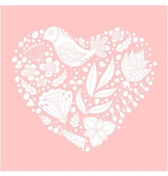 Doodle bird and floral elements vector image