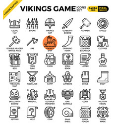 Fancy vikings game icons vector