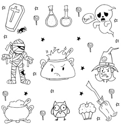 Many Element Halloween in doodle vector image