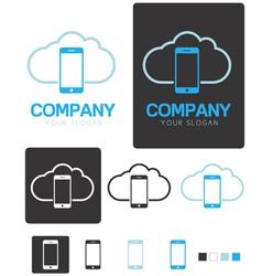 Mobile cloud computing company logo template vector