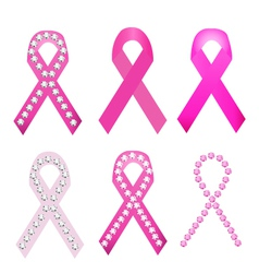 Set of Breast cancer award ribbons vector image