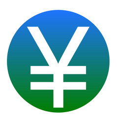 yen sign white icon in bluish circle on vector image