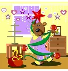 Bear dresses fir tree 21 vector image vector image