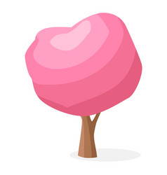 cartoon tree with pink crown isolated vector image