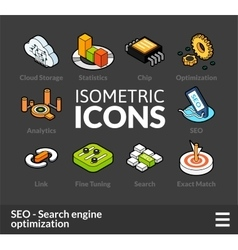 Isometric outline icons set 7 vector image vector image