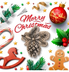 Merry Christmas festive background with vector image vector image