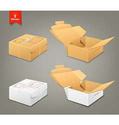 Parcel boxes brown and white box collections vector image
