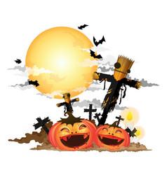 scarecrow and halloween pumpkin vector image vector image