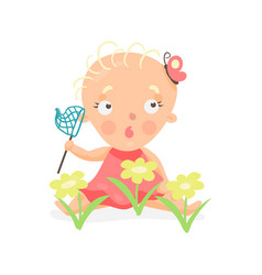 sweet cartoon baby girl sitting on the meadow with vector image vector image