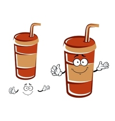 Cartoon takeaway cup with drinking straw character vector image vector image