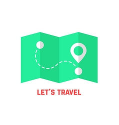 green travel map with pin vector image vector image
