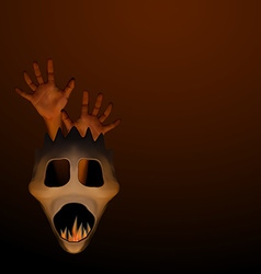 Spooky halloween mask with human hand and frame vector image vector image