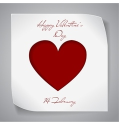 Valentines Day paper background with red heart vector image vector image