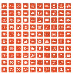 100 cow icons set grunge orange vector