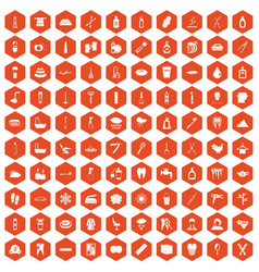 100 hygiene icons hexagon orange vector